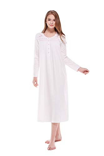 Keyocean Nightgowns for Women, 100% Cotton Long Soft Women Nightgown Sleepwear for Summer, Cream, Small