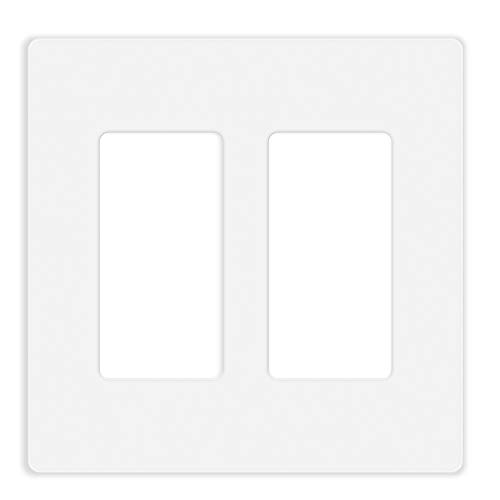10 Pack Screwless Decorator Wall Plate for Electric Outlets, GFCI, Dimmers, Switches, 2-Gang Unbreakable Child Safe Cover Plate, White