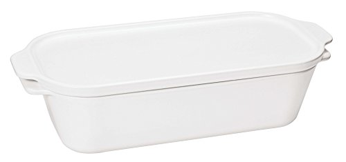 Paderno World Cuisine White Ceramic Terrine Mold with Lid, 1 3/4-Quart