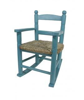 CAL FUSTER -Mecedora Infantil de Madera Asiento de anea Color Azul Vintage niño niña Regalo Original. Medidas: 53xx34x42 cm.