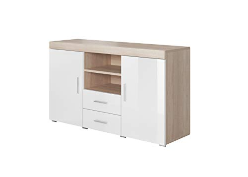 muebles bonitos Aparador Moderno Modelo Roque Sonoma Blanco de melamina Brillo Ancho 140cm Alto 80cm Profundo 40cm