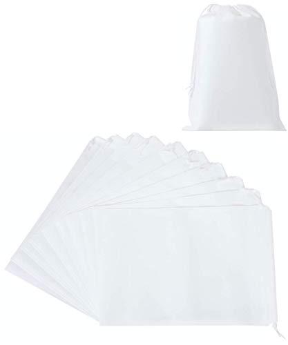 Chocople 巾着 不織布 収納 10枚入り ラッピング 収納 袋 (白, 40×50cm)