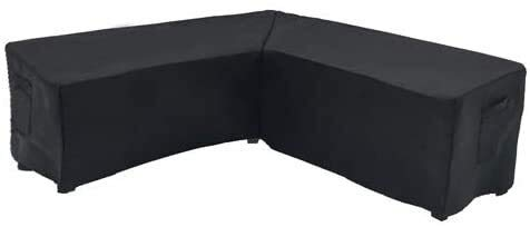 Outdoor Furniture Covers Patio Sectional Couch Protector Waterproof V Shaped Black Small Size 85x34x30H Inches Four seasons