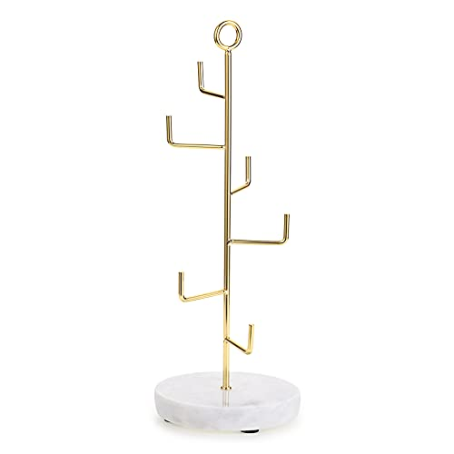 SUMTREE Soporte para joyas vintage de metal y mármol, soporte para collares, collares, pendientes, etc.