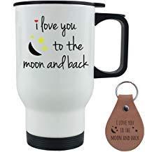 Queen54ferna Taza de café de acero inoxidable blanco con tapa de empuje y llavero de cuero, con texto 'I Love You To The Moon and Back'