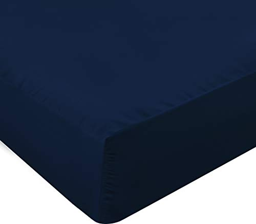 Utopia Bedding Fitted Sheet - Deep Pocket 14 inch (35 cm) - Easy Care Soft Brushed Microfibre Fabric - Shrinkage and Fade Resistant (Double, Navy Blue)