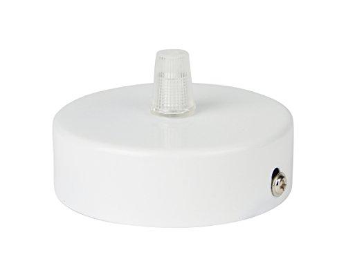 Florón blanco | embellecedor para lámpara de techo, suspensor estándar tamaño m10, 80x25 mm | embellecedor para lámpara de techo | incl. pasacables/prisionero para fácil montaje | Buchenbusch Urban Design (1 unidad)