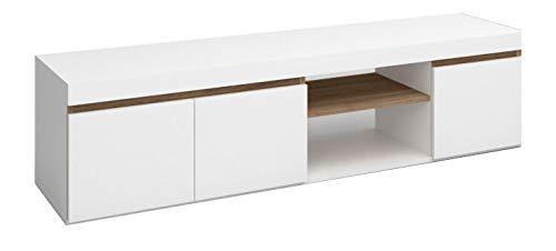 Fabrikit Mesa TV Elis 2 Huecos 3 Puertas salón Comedor Blanco Mate y Naturale Estilo nórdico Mueble 41x160x40 cm