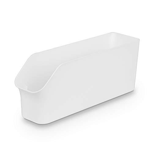 Baskiss 食品収納ラック 冷蔵庫トレー パントリー ストッカー キャビネット キッチン整理ボックス シンク下収納ケース 缶ジュース ホルダー 小物 収納 オーガナイザー 白/ホワイト (白-Size S)