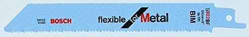 Bosch Professional 100 Stück Säbelsägeblatt S 922 BF Flexible for Metal (für Metall, 150 x 19 x 0,9 mm, Zubehör Säbelsäge)