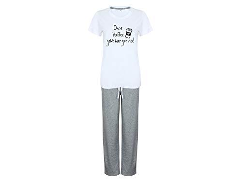 Tachinedas Kreativshop Damen Pyjama mit Spruch Ohne Kaffee geht Hier gar nix (M)