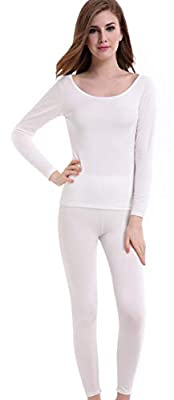 Thermal Underwear Women Long - Scoop Neck Ultra - Thin Johns Set Top & Bottom Ivory Off White