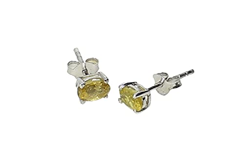 budawi® - Ohrstecker Turmalin gelb oval facettiert, 925er Sterling Silber, Edelstein-Ohrringe Turmalin gelb