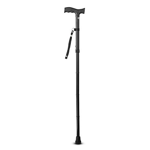 Sturdy and Lightweight Folding Walking Cane for Men and Women - Hight Adjustable Walking Stick for Seniors - Rubber Tip Bottom for Stability - Walking Canes with Ergonomic Handle and Wrist Strap