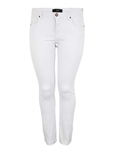 Zizzi Emily Jeans Damen Große Größen Slim Fit Curvy Hip Stretch Jeanshose 42-56, Weiß, 52 / 82 cm