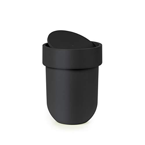 Umbra Touch Bote de basura con tapa para baño, con capacidad de 6 litros, Negro
