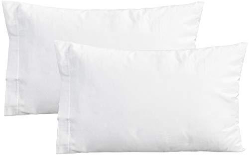PERLARARA - Set 2 Funda de Almohada para Cama de Bebé 100% Algodón cm 40 x 60 Lavable (Blanco)