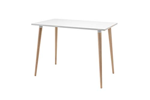 FLENDIT Home-Nordik Collection. Lili Desk. Mesa de Comedor Rectangular de 1ª Calidad en Color Blanco Mate y Patas de Madera Maciza de Haya 100% Natural. Medidas 72 x 100 x 60 cm y Grueso de 19 mm