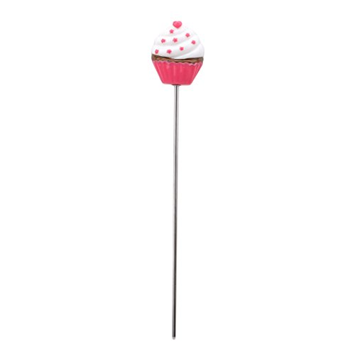 GUAngqi Stainless Steel Cake Tester Probe with Cute Handle for Cake Bread Muffin Testing Chef-Aid Baking Skewer Cupcake Cooking Bread Probe Bake Tester 7 Inch Long,Love red dot