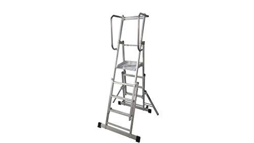 Escalera móvil con plataforma, plegable y extensible. EPX-400 (Aluminio, 5 peldaños)