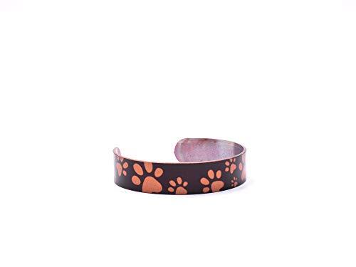 Pulsera de cobre hecha a mano con diseño de huellas de patas, no magnética.