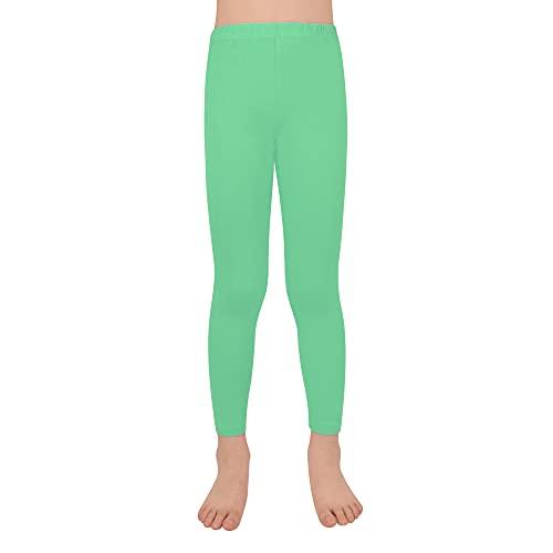 L&K-II Leggings per Bambini Basic Tinta Unita Ragazze Danza Pantaloni capr Pants Estate Baby Fitness Pants Cotton 2708 Verde-104