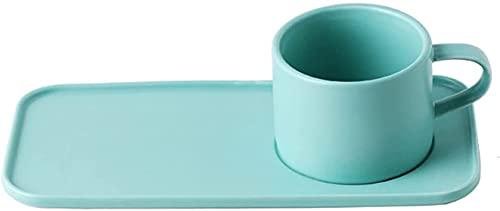 SXDYJ Taza de café de Porcelana y Conjunto de Platos,Tazas de cócteles de la Tarde del Vintage Tazas de Capuchino con té asa de Taza de café Espresso Taza Tazas de Cerveza (Color : Verde)
