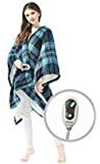 "Beautyrest Ultra Soft Sherpa Berber Fleece Electric Poncho Wrap Blanket Heated Throw with Auto Shutoff, 50"" W x 64"" L, Aqu..."