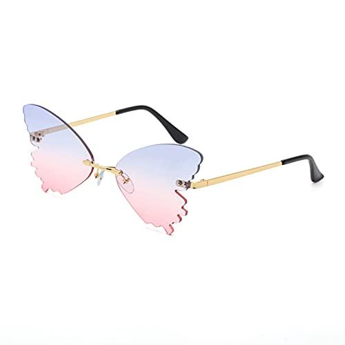 PPLAX Mariposa Gafas de Sol sin llanta para Mujer Lente oceánico Gafas de Sol de Gran tamaño Moda Metal Sombras Sunglasses UV400 (Lenses Color : Blue Pink)