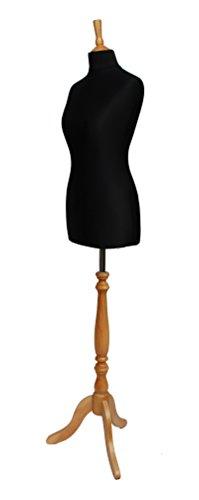 DELUXE the 10 Shopfitting Shop Mannequin de couture Buste Mannequin Jersey noire en bois effet hêtre trépied