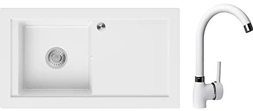 PRIMAGRAN Fregadero de Granito 89 x 49,5 cm, Lavabo Cocina Un Seno + Grifo + Sifón Pop-Up, Fregadero Empotrado Prague, Blanco