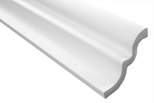 Zierleiste E-9   leicht und stabil   extrudiertes Styropor   Stuckprofil   Decken-/ und Wandübergang   modern weiß   dekorativ   XPS   62 x 80 mm   2 Meter