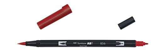 Tombow - Rotulador con doble punta, color Rojo chino.
