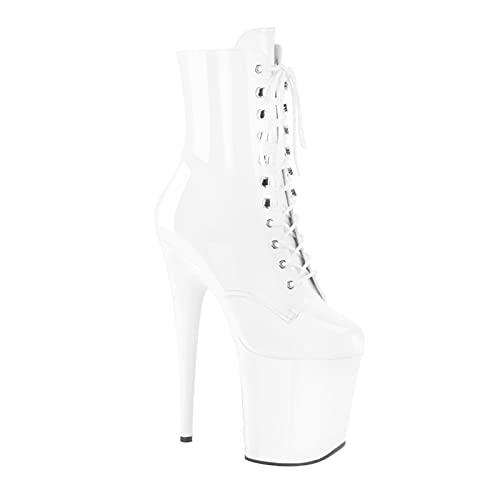 7,87 Pulgadas, Botas Sexis De Tobillo para Mujer, Zapatos Baile Barra, Plataforma, Modelos Club Nocturno, Zapatos Talla Grande para Hombre, Zapatos Noche Fiesta,Blanco,34 EU