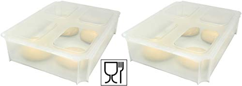 2x Teigballenbehälter Pizzaballenbox Pizzaballenbehälter transluzent Größe 35,5 x 27,5 x 8,5 cm + 2x Klickdeckel transparent