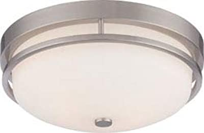 Replacement For 60/5486 NEVAL 2 LIGHT FLUSH FIXTURE WITH SATIN WHITE GLASS BRUSHED NICKEL