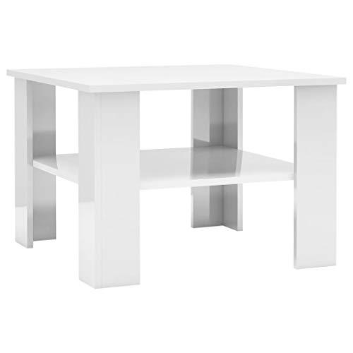vidaXL Couchtisch 1 Ablagefach Beistelltisch Wohnzimmertisch Kaffeetisch Sofatisch Tisch Telefontisch Hochglanz-Weiß 60x60x42cm Spanplatte