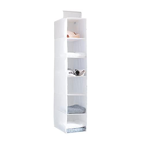 YINGGG Organizador Estante de Ropa con 6 baldas, Estantería de Tela para organizar armarios (Blanco, 20cm)