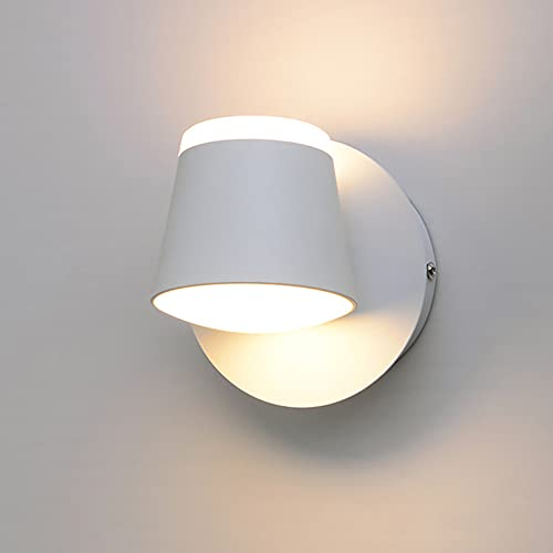TTYY Aplique de Pared de Interior Blanco LED Lámpara de Pared con Interruptor Diseño Moderna Iluminación para Lectura de Giratoria 355° 8W Luz De Pared ara Dormitorio Salón Cabecera 3000K