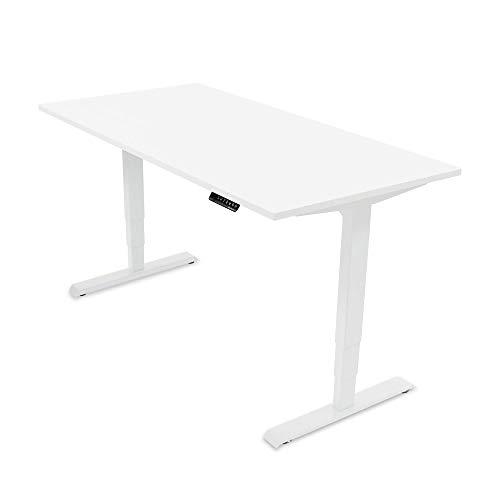 Ergotopia® Elektrisch höhenverstellbarer Schreibtisch | 5 Jahre Garantie | Ergonomischer Steh-Sitz Tisch mit Memory Funktion | Beugt Rückenschmerzen vor & Macht produktiver (160x80, Weiß, Weiß)