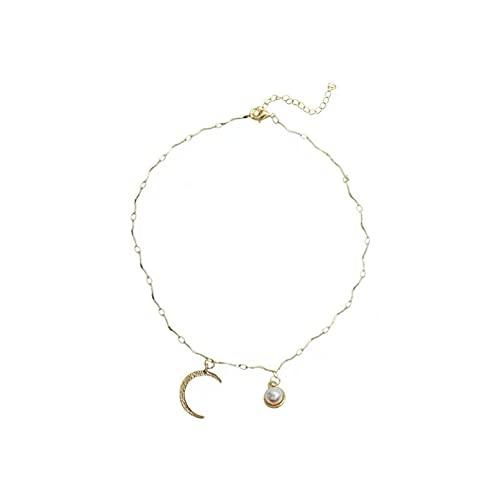 QiuYueShangMao Colgante de Collar Mujer asimétrica Perla de Diamantes de imitación Colgante de Luna Cadena de clavícula Collar con Tachuelas de Media Luna Día de San Valentín, cumpleaños