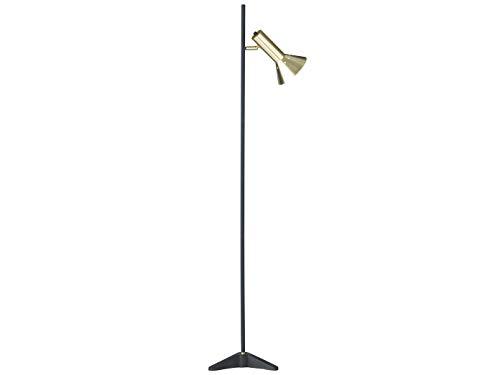 Lampadaire rétro avec abat-jour pivotant en noir/doré et filament LED E27 – Lampe de lecture, éclairage sur pied au look industriel