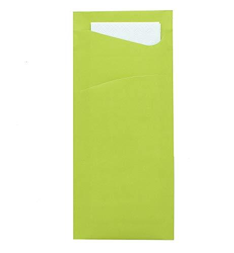 Prime Guest Bestecktasche Prime Fit 85 x 190 mm | mit 2-lagiger Tissue-Serviette in Weiß | ideal für Gastronomie und Feiern | 500 Stück | (Kiwi)