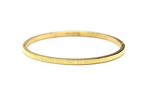 Oh My Shop BC2808F - Bracciale rigido in acciaio dorato con messaggio Les Princes Existent Au Rayon Biscuits