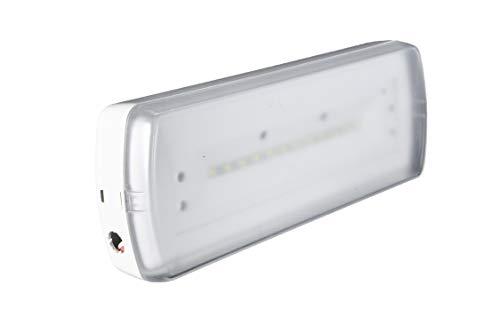 POPP® Pack de x1 x5 x10 Luz de emergencia Empotrable/Superficie LED 3W 200lm techo pared salida emergencia seguridad [Clase de eficiencia energética A++] (SUPERFICIE, 1 UNIDAD)