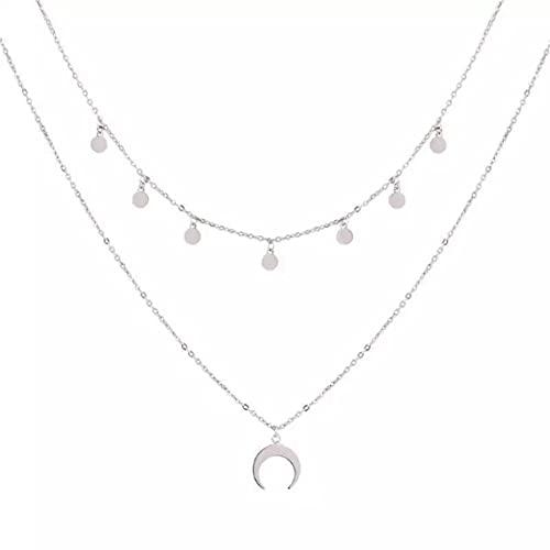 Jovono - Collar con varias capas y colgante de luna creciente, cadena...