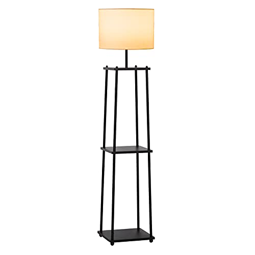 HOMCOM Lámpara de Pie Iluminación Moderna Multifuncional con 3 Estantes de Almacenaje Interruptor de Pedal Diseño Elegante Pantalla de Tela 34,5x34,5x150 cm Negro y Crema