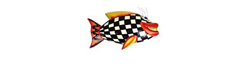Objeto regalo Idea–Madera magnético pescado blanco a cuadros–Frigorífico magnético, Deko magnético como regalo de Navidad o regalo de cumpleaños