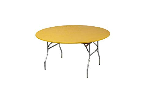 Kwik-Covers 60 Round Fitted Plastic Table Covers, Bundle of 5 (Gold)