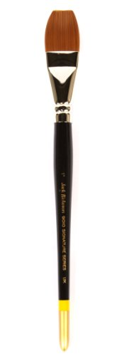 Jack Richeson 9000 Series Synthetic Short Handle Watercolor Flat Brush, 1-Inch